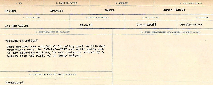 Circumstances of Death Registers – Source: Library and Archives Canada.  CIRCUMSTANCES OF DEATH REGISTERS, FIRST WORLD WAR Surnames:  Babb to Barjarow. Microform Sequence 5; Volume Number 31829_B016715. Reference RG150, 1992-93/314, 149.  Page 489 of 1072.