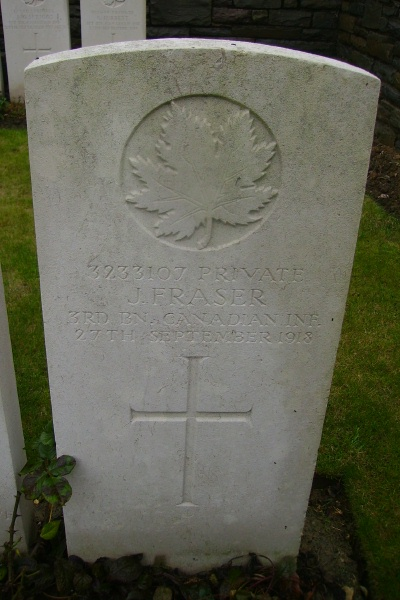 Grave Marker – Grave marker - Ontario Cemetery, Sains-les-Marquion … photo courtesy of Marg Liessens