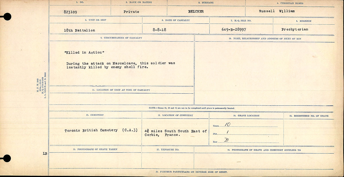 """Circumstances of Death Registers – """"Killed in Action"""" During the attack on Marcelcave, this soldier was killed instantly by enemy shell fire."""