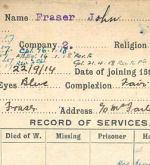 Record of Service – Record of Service Card (front side).  From archives 48th Highlanders of Canada Regimental Museum.  Submitted by 15th Bn Memorial Project Team.  DILEAS GU BRATH