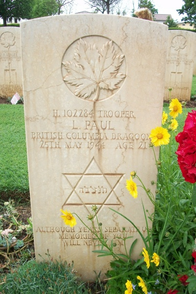 Grave Marker – Grave marker - Cassino War Cemetery - May 2013 … Photo courtesy of Marg Liessens