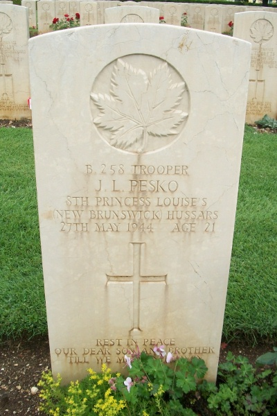 Grave Marker – Cassino War Cemetery - May 2013 … Photo courtesy of Marg Liessens