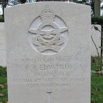 Grave Marker – Photo used with permission of Frans van Cappellen, Putten, The Netherlands Wellington aircraft HZ-263 of 199 (RAF) Squadron was airborne 1930 12 Mar 43 from Ingham, Lincolnshire. Lost in the sea off the coast of Holland. Sgt Edward's body was washed ashore and is now buried in Bergen General Cemetery; his comrades have no known graves. They are: F/L W.J.King; Sgt D.A.Nunn; Sgt C.F.White; and Sgt C.R.Townsend RAAF.  (Source:  www.lostbombers.co.uk)