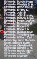 Memorial – Flight Sergeant Russell Irwin Edwards is also commemorated on the Bomber Command Memorial Wall in Nanton, AB … photo courtesy of Marg Liessens