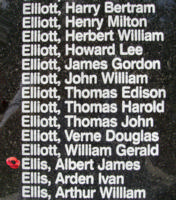 Memorial – Flying Officer Albert James Ellis is also commemorated on the Bomber Command Memorial Wall in Nanton, AB … photo courtesy of Marg Liessens