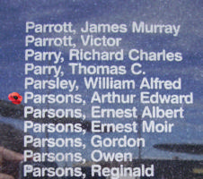 Memorial – Flying Officer Arthur Edward Parsons is commemorated on the Bomber Command Memorial Wall in Nanton, AB … photo courtesy of Marg Liessens