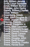 Memorial – Flight Sergeant Joseph Paul Olivier Ethier is also commemorated on the Bomber Command Memorial Wall in Nanton, AB … photo courtesy of Marg Liessens