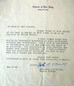 """Letter – Reference letter for William """"Joseph"""" Toner"""