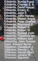 Memorial – Sergeant William Earl Edwards is also commemorated on the Bomber Command Memorial Wall in Nanton, AB … photo courtesy of Marg Liessens