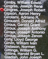 Memorial – Flying Officer Joseph Robert Real Gingras is also commemorated on the Bomber Command Memorial Wall in Nanton, AB … photo courtesy of Marg Liessens