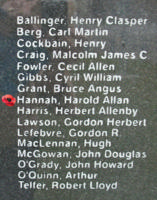 Memorial – Flying Officer Harold Allan Hannah is also commemorated on the Bomber Command Memorial Wall in Nanton, AB … photo courtesy of Marg Liessens