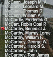 Memorial – Pilot Officer Benedict Joseph McCarthy is also commemorated on the Bomber Command Memorial Wall in Nanton, AB … photo courtesy of Marg Liessens