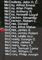 Memorial – Flying Officer James Alexander McCrea is also commemorated on the Bomber Command Memorial Wall in Nanton, AB … photo courtesy of Marg Liessens