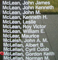 Memorial – Sergeant Gordon Keith McLellan is also commemorated on the Bomber Command Memorial Wall in Nanton, AB … photo courtesy of Marg Liessens