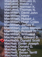 Memorial – Flight Lieutenant Navigator Donald Scott MacNabb is also commemorated on the Bomber Command Memorial Wall in Nanton, AB … photo courtesy of Marg Liessens