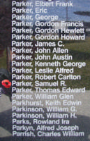 Memorial – Flight Sergeant Samuel Rutherford Parker is commemorated on the Bomber Command Memorial Wall in Nanton, AB … photo courtesy of Marg Liessens