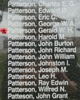 Memorial – Flight Sergeant Gerald William Henry Patterson is also commemorated on the Bomber Command Memorial Wall in Nanton, AB … photo courtesy of Marg Liessens