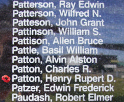Memorial – Pilot Officer Henry Rupert Dunstan Patton is also commemorated on the Bomber Command Memorial Wall in Nanton, AB … photo courtesy of Marg Liessens