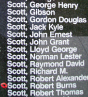 Memorial – Pilot Officer Robert Burns Scott is commemorated on the Bomber Command Memorial Wall in Nanton, AB … photo courtesy of Marg Liessens