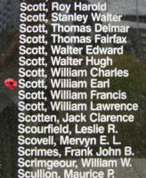 Memorial – Flying Officer William Earl Scott is commemorated on the Bomber Command Memorial Wall in Nanton, AB … photo courtesy of Marg Liessens