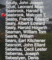 Memorial – Flying Officer Malcolm Thomas Seabrook is commemorated on the Bomber Command Memorial Wall in Nanton, AB … photo courtesy of Marg Liessens