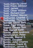 Memorial – Pilot Officer Charles Clarke Todhunter is commemorated on the Bomber Command Memorial Wall in Nanton, AB … photo courtesy of Marg Liessens