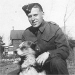 Photo of Wilbert Gordon Sears – Taken Outside the family house on Oxford St. in Orillia.  Chubby, the dog outlived his master by 5 years.