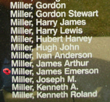 Memorial – Sergeant James Emerson Miller is also commemorated on the Bomber Command Memorial Wall in Nanton, AB … photo courtesy of Marg Liessens