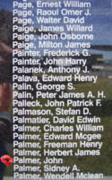 Memorial – Warrant Officer Class II John Palmer is commemorated on the Bomber Command Memorial Wall in Nanton, AB … photo courtesy of Marg Liessens