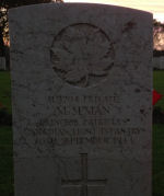 Grave marker – Nov. 11, 2013 at sunset Coriano Ridge War Cemetery, the first picture of Metro's marker
