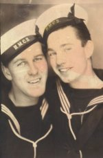Photo of William Quilty (right) – William J. Quilty (right), and his best friend, George Whalen. Both served in the RCN, and were serving as temporary crew on the SS Cornwallis when they were torpedoed by U-1230.
