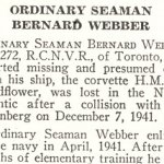 Obituary – Bernard Webber is honoured on page 80 of the memorial book,