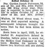 Newspaper Clipping – Source:  Hamilton Spectator, November 7, 1944
