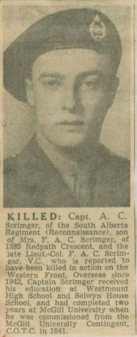 Press Clipping – Capt Alexander Caron Scrimger obit Montreal Star Nov 11 1944 courtesy McGill University archives