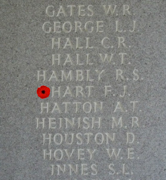 Memorial – Inscription - Sergeant Francis Joseph Hart is also commemorated on the Runnymede Memorial, Surrey, UK - April 2017 … photo courtesy of Marg Liessens