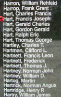 Memorial – Sergeant Francis Joseph Hart is also commemorated on the Bomber Command Memorial Wall in Nanton, AB … photo courtesy of Marg Liessens