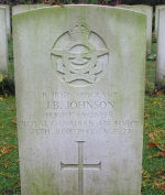 Grave Marker – Photo courtesy of Frans van Cappellen, Putten, The NetherlandsHalifax D147 was one of three No.419 Sqdn Halifaxes lost on this operation. The crew was airborne 2240 24Jun43 from Middleton St.George on a mission to  Wuppertal, Germany.  It was shot down by a night-fighter and crashed onto the Hammersveld near Herten (Limburg),  Holland, where F/O Goodwin is buried in Kapel in the Roermond Roman Catholic Cemetery. His two comrades are now buried in Jonkerbos War Cemetery, having been brought here from the temporary military cemetery at Venlo.   The crew killed were:  F/L B.N.Jost DFC, Sgt J.B.Johnson, and F/O R.O.E.Goodwin, all members of the RCAF and one member of the RNZAF,  F/S A.W.A.Bruce.  The following RAF crew members survived and were taken PoW:  F/S L.Barker, Sgt R.E.Austin, Sgt R.E.Austin and Sgt E.B.Pope.    (Source:  //lostbombers.co.uk)