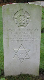 Grave Marker – Photo courtesy of  Frans van Cappellen, The Netherlands FS Magder was Observer on Lancaster ED 440 which had taken part in the following key Operations: Berlin 16/17Dec43; Dusseldorf 27/28Jan43; Hamburg 30/31Jan43; Cologne 2/3Feb43-Lost. The crew was airborne 1851 2Feb43 from Fiskerton. Shot down by a night-fighter, crashing 2113 2Feb43 between Kessel and Helden (Limburg), where those killed were initially buried. They have since been re-interred in the Jonkerbos War cemetery.   Also killed was F/O (WAG) E.J.F. Dunand of Saskatchewan.  Four RAF crew members were killed and one survived and was taken PoW.   (Source:  www.lostbombers.co.uk)