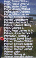 Memorial – Warrant Officer Class II David Edwin Palmatier is commemorated on the Bomber Command Memorial Wall in Nanton, AB … photo courtesy of Marg Liessens