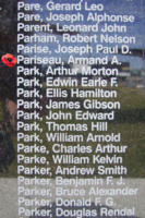 Memorial – Flying Officer Armand Alphonse Pariseau is commemorated on the Bomber Command Memorial Wall in Nanton, AB … photo courtesy of Marg Liessens