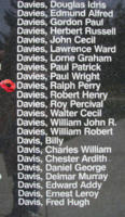 Memorial – Flying Officer Ralph Perry Davies is also commemorated on the Bomber Command Memorial Wall in Nanton, AB … photo courtesy of Marg Liessens