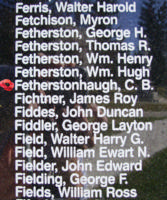 Memorial – Flight Sergeant Charles Brian Fetherstonhaugh is also commemorated on the Bomber Command Memorial Wall in Nanton, AB … photo courtesy of Marg Liessens