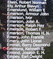 Memorial – Sergeant Kenneth Edward Emmons is also commemorated on the Bomber Command Memorial Wall in Nanton, AB … photo courtesy of Marg Liessens
