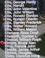 Memorial – Flying Officer Bruce Alan Elmore is also commemorated on the Bomber Command Memorial Wall in Nanton, AB … photo courtesy of Marg Liessens