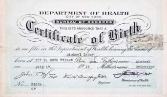 Birth ceritificate – Submitted for the project, Operation Picture Me