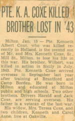 Newspaper Clipping – The Toronto Star, January 15, 1945, page 8