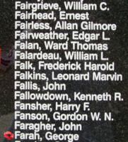 Memorial – Warrant Officer George Farah is also commemorated on the Bomber Command Memorial Wall in Nanton, AB … photo courtesy of Marg Liessens