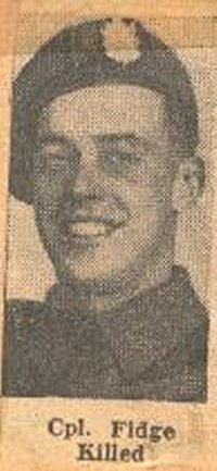 Newspaper Clipping – This image of Cpl Jack Fidge was obtained from a Toronto newspaper of 1945 that announced his death in combat. It has been preserved in a collection of articles about the QOR in WW II by Mrs. Ula Richardson.