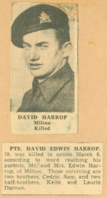 Photo of DAVID EDWIN HARROP – newspaper story