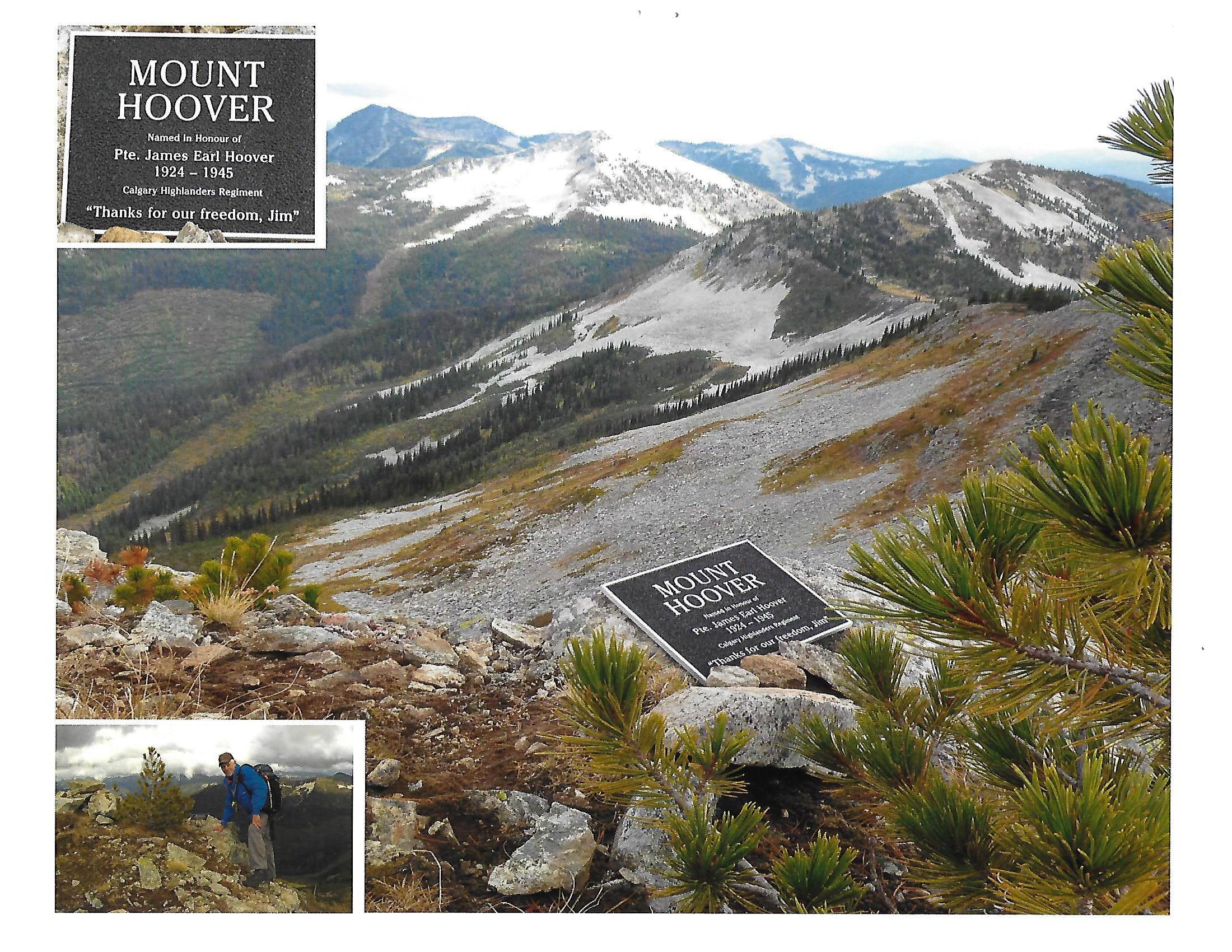 Plaque – Picture showing summit of Mt. Hoover, just northwest of Nelson, B.C. We climbed this mountain in September, 2016 and placed a plaque there in remembrance of my uncle, James (Jim) Earl Hoover.